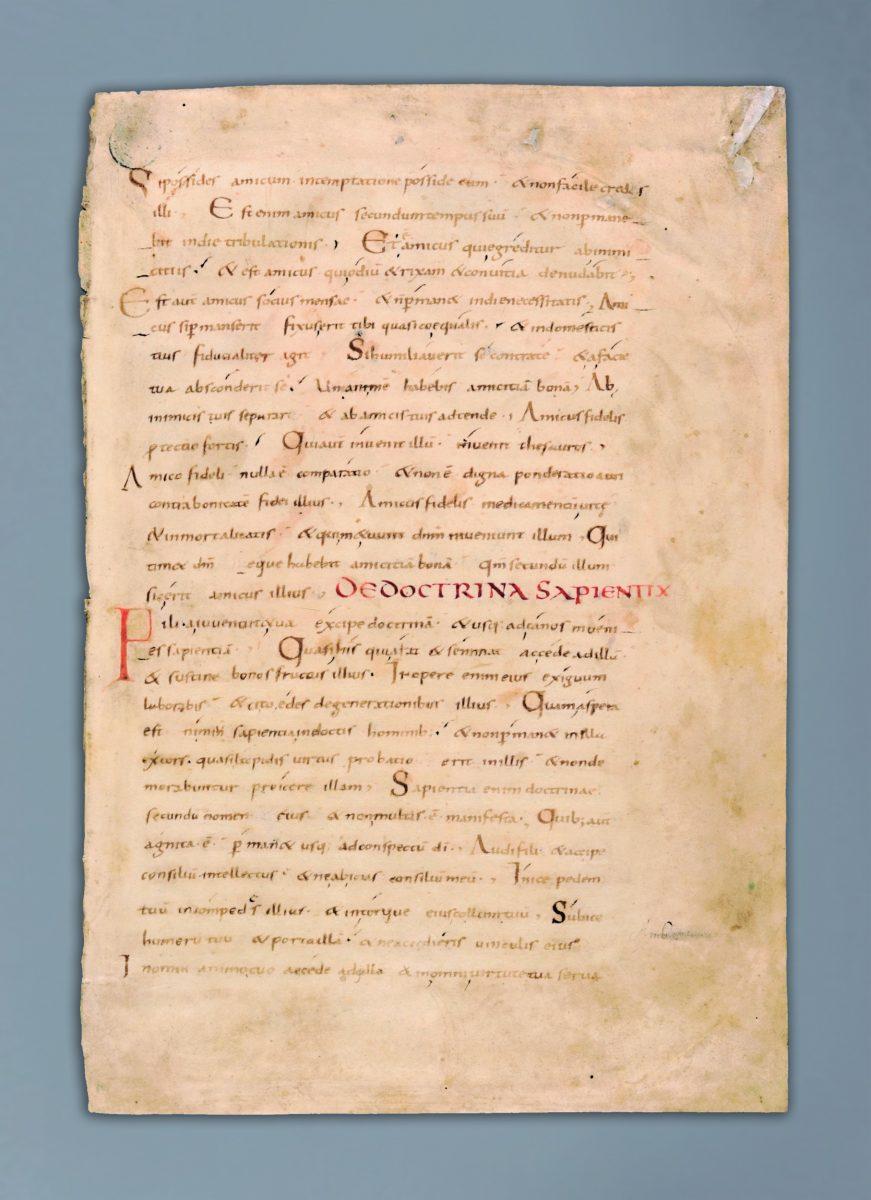 karta z fragmentem Księgi Mądrości