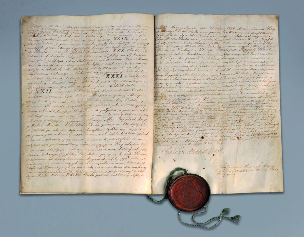 Król Stanisław August Poniatowski potwierdza prawa Cechu Wielkiego miasta Płocka, 21 lutego 1786 r.,