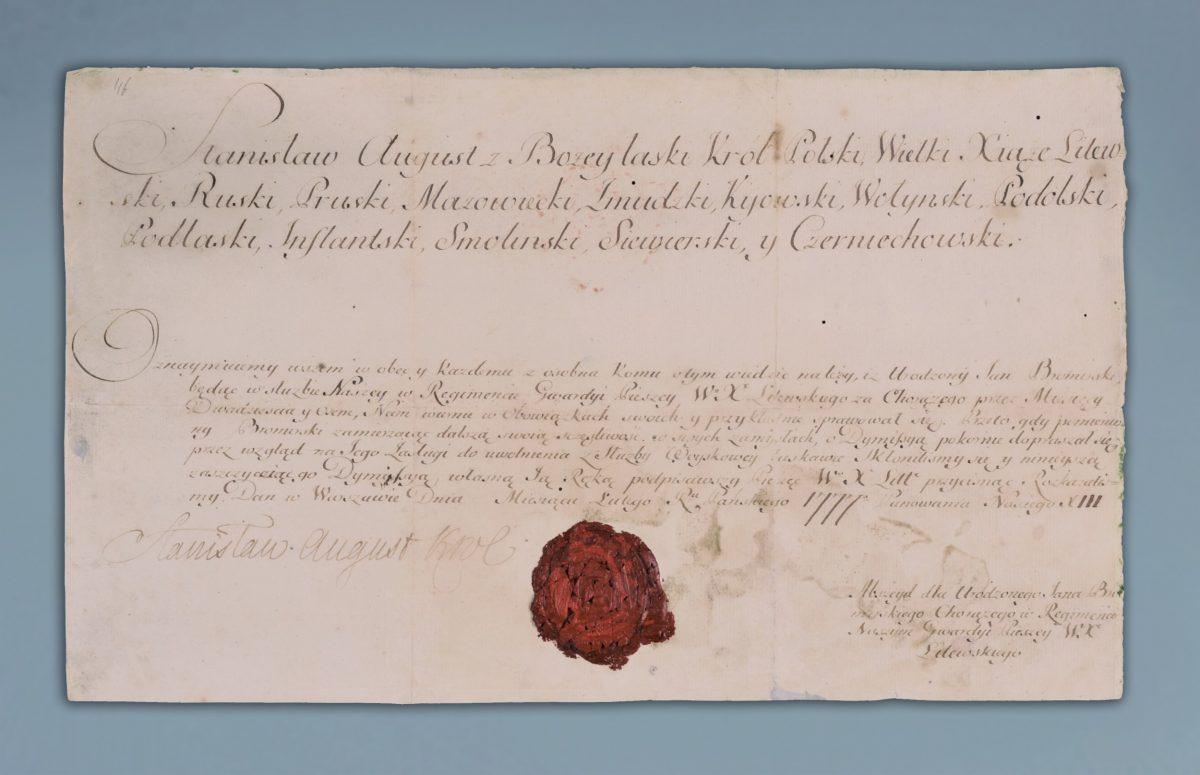 uwolnienie ze służby przez Stanisława Augusta Poniatowskiego